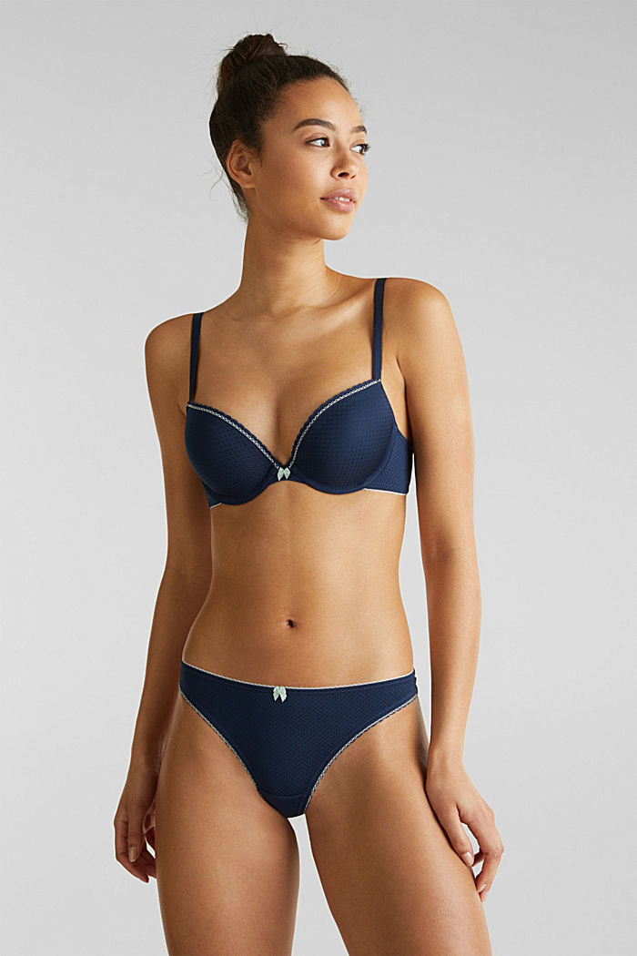 Padded push-up bra with a jacquard pattern, NAVY, detail image number 2