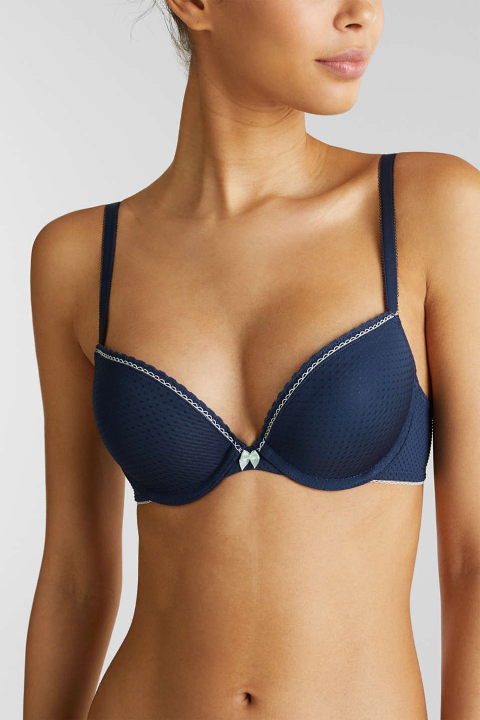 Padded push-up bra with a jacquard pattern, NAVY 2, detail image number 3