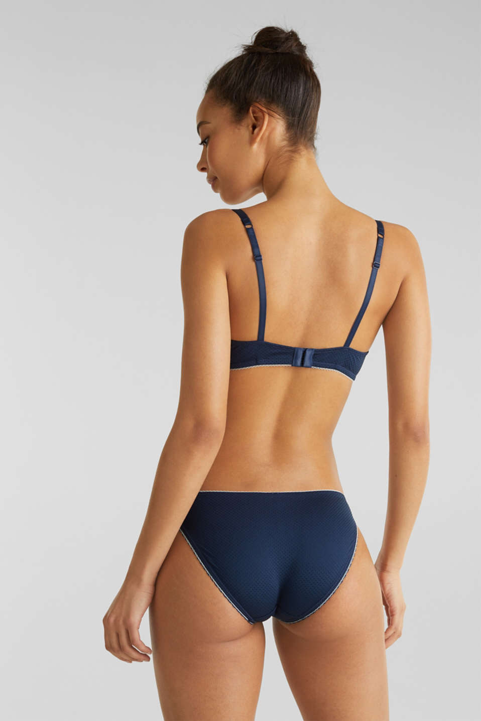 Padded underwire bra with a jacquard pattern, NAVY 2, detail image number 1