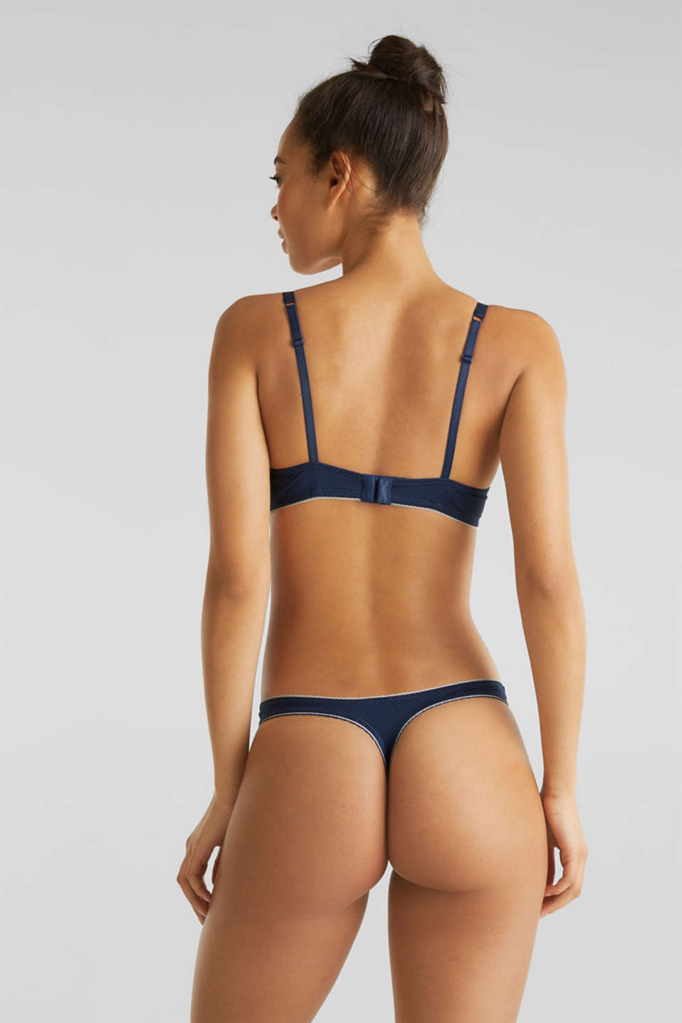 Hipster thong with a jacquard pattern, NAVY 2, detail image number 2