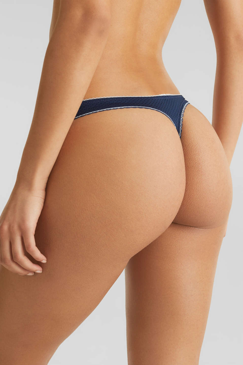 Hipster thong with a jacquard pattern, NAVY 2, detail image number 1