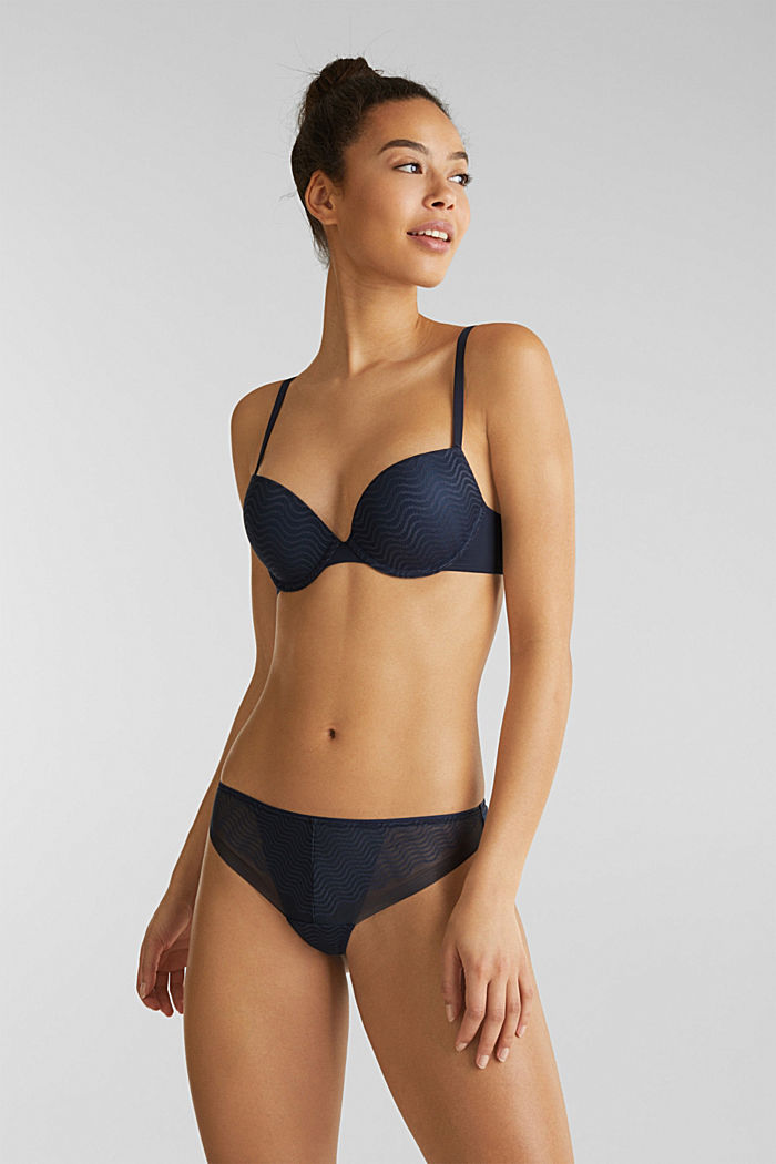 Push-up bra with wavy lace, NAVY, detail image number 0