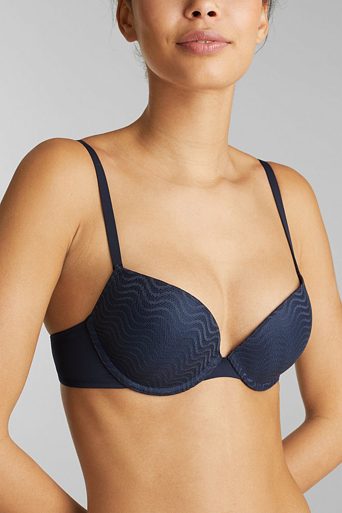 Push-up bra with wavy lace, NAVY, detail image number 2