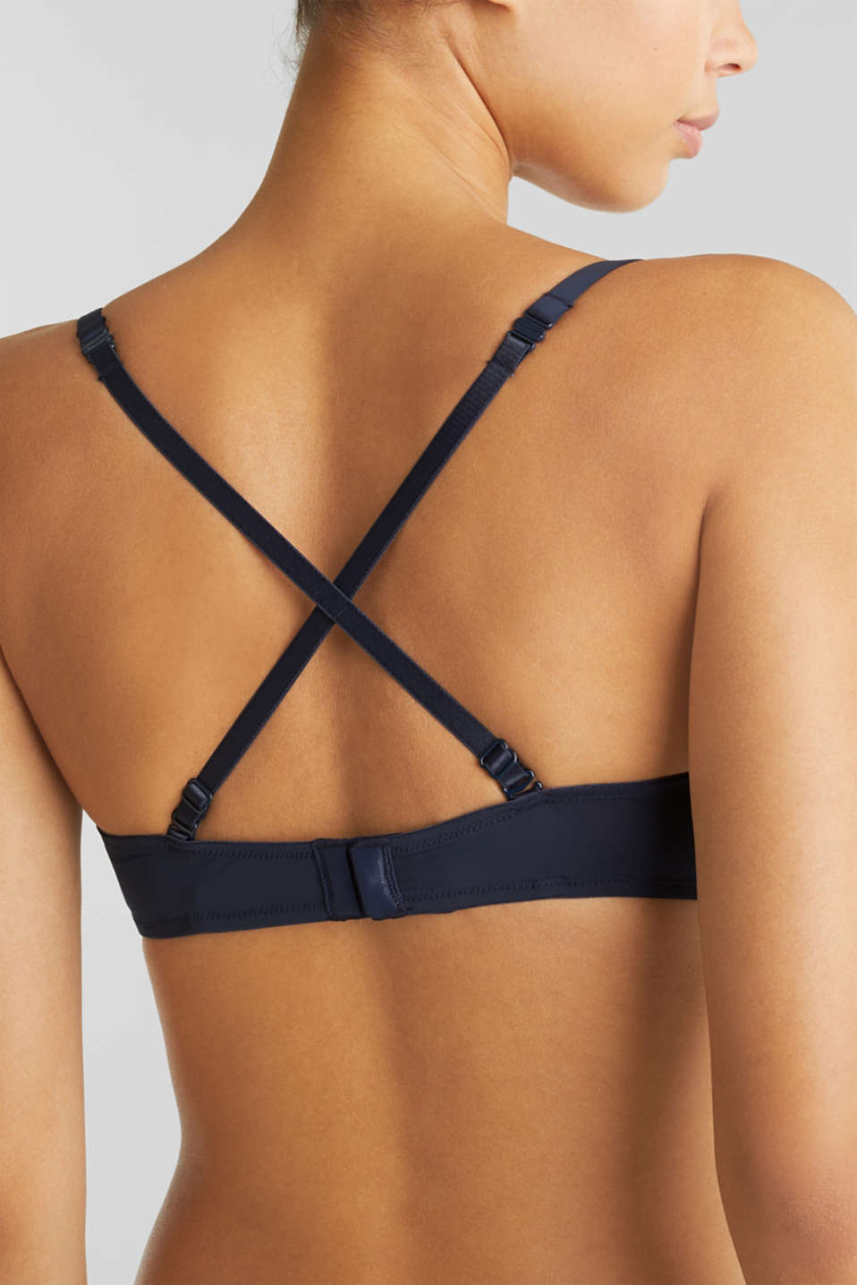 Push-up bra with wavy lace, NAVY 2, detail image number 4