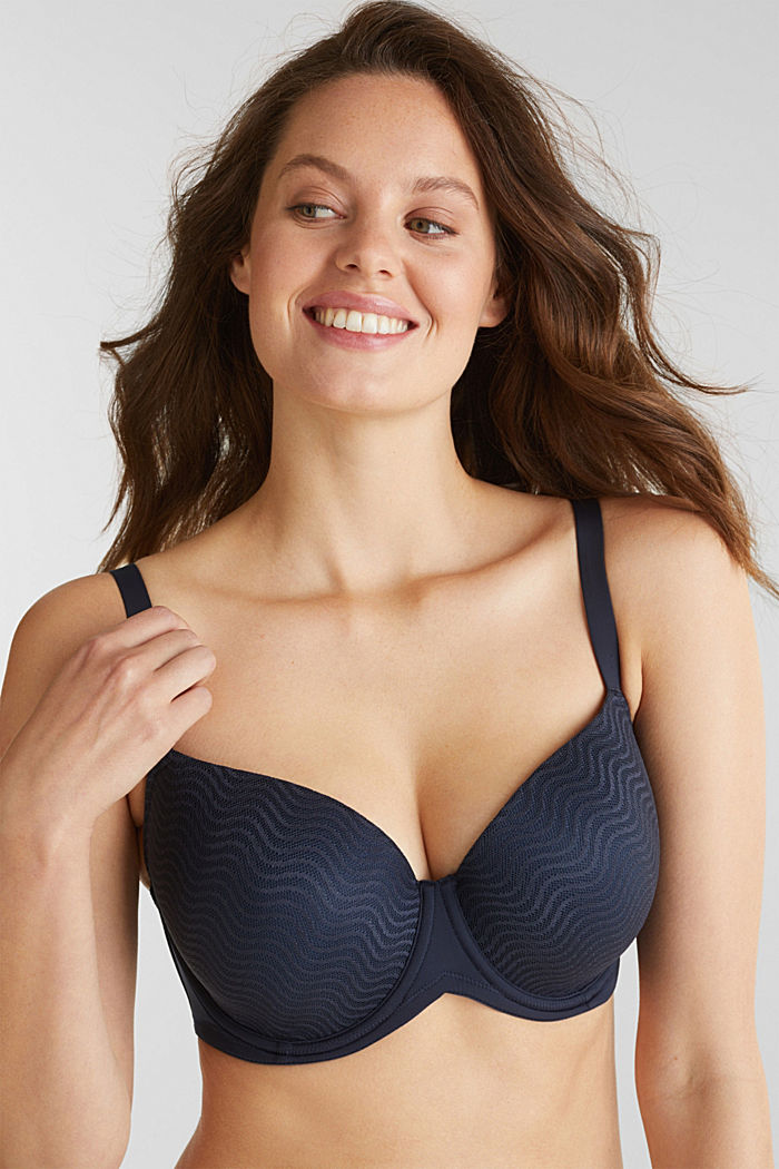Padded underwire bra made of wavy lace, NAVY, detail image number 0