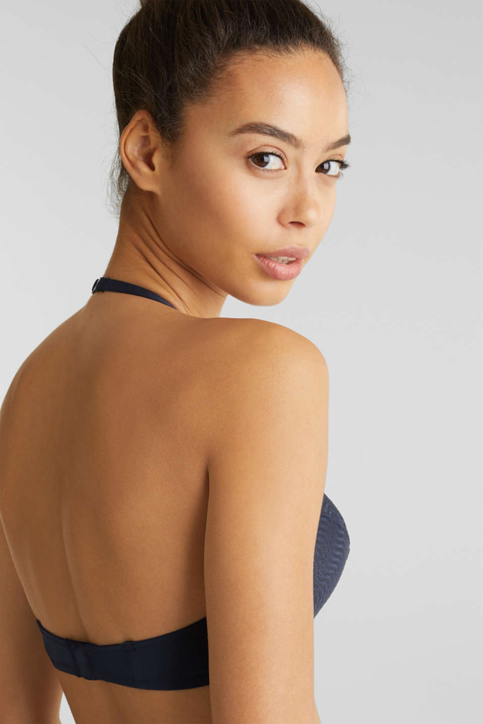 Unpadded underwire bra with wavy lace, NAVY 2, detail image number 3