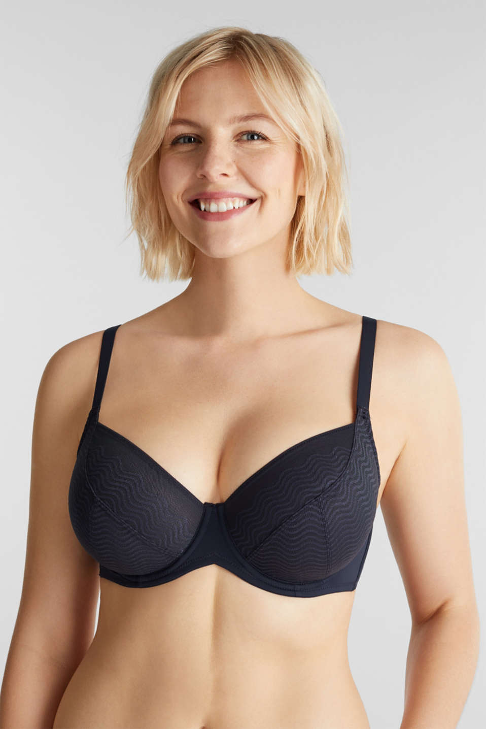 Esprit - Unpadded underwire top made of wavy lace