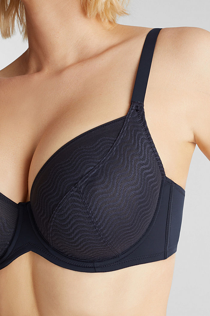 Unpadded underwire top made of wavy lace, NAVY, detail image number 2