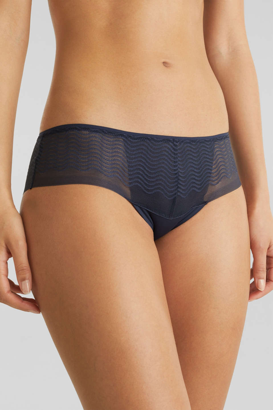 Hipster shorts made of wavy lace, NAVY 2, detail image number 1