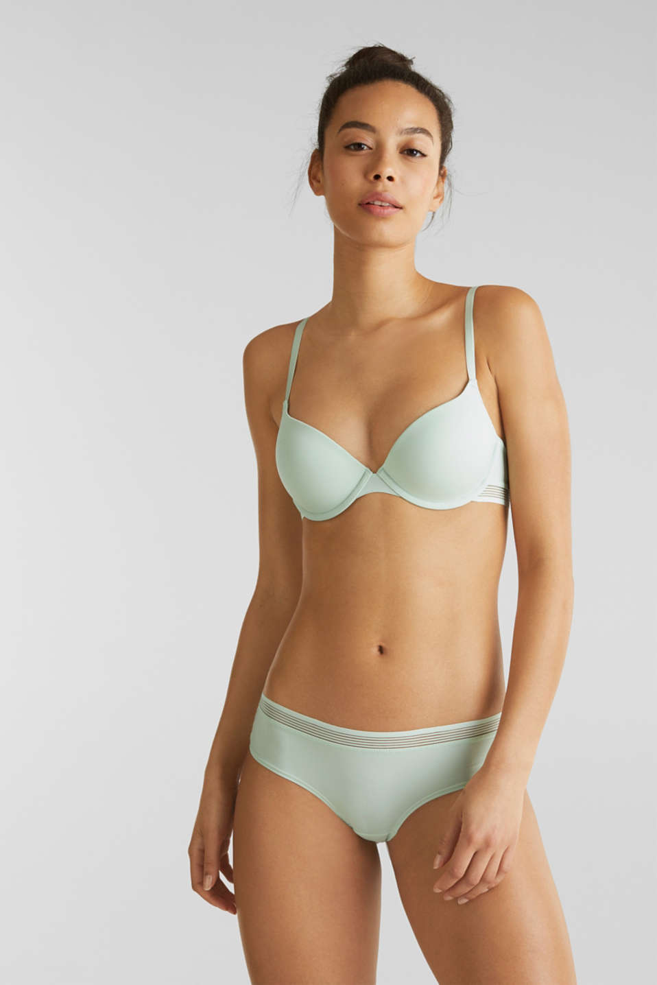 Padded push-up bra with sheer stripes, LIGHT AQUA GREEN, detail image number 0