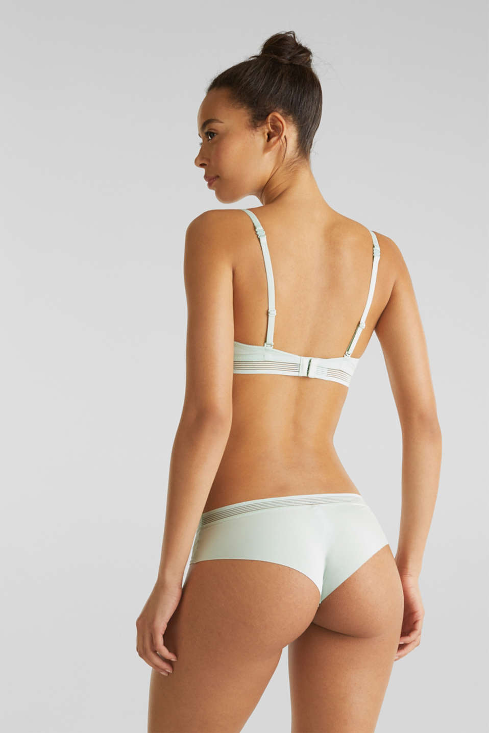Padded push-up bra with sheer stripes, LIGHT AQUA GREEN, detail image number 1