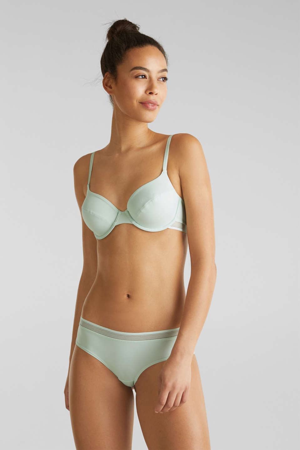 Unpadded underwire bra with sheer stripes, LIGHT AQUA GREEN, detail image number 0