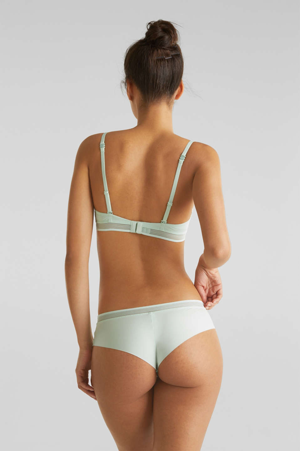 Unpadded underwire bra with sheer stripes, LIGHT AQUA GREEN, detail image number 1