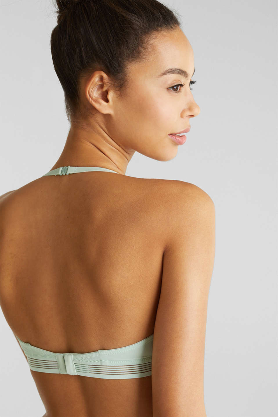 Unpadded underwire bra with sheer stripes, LIGHT AQUA GREEN, detail image number 3