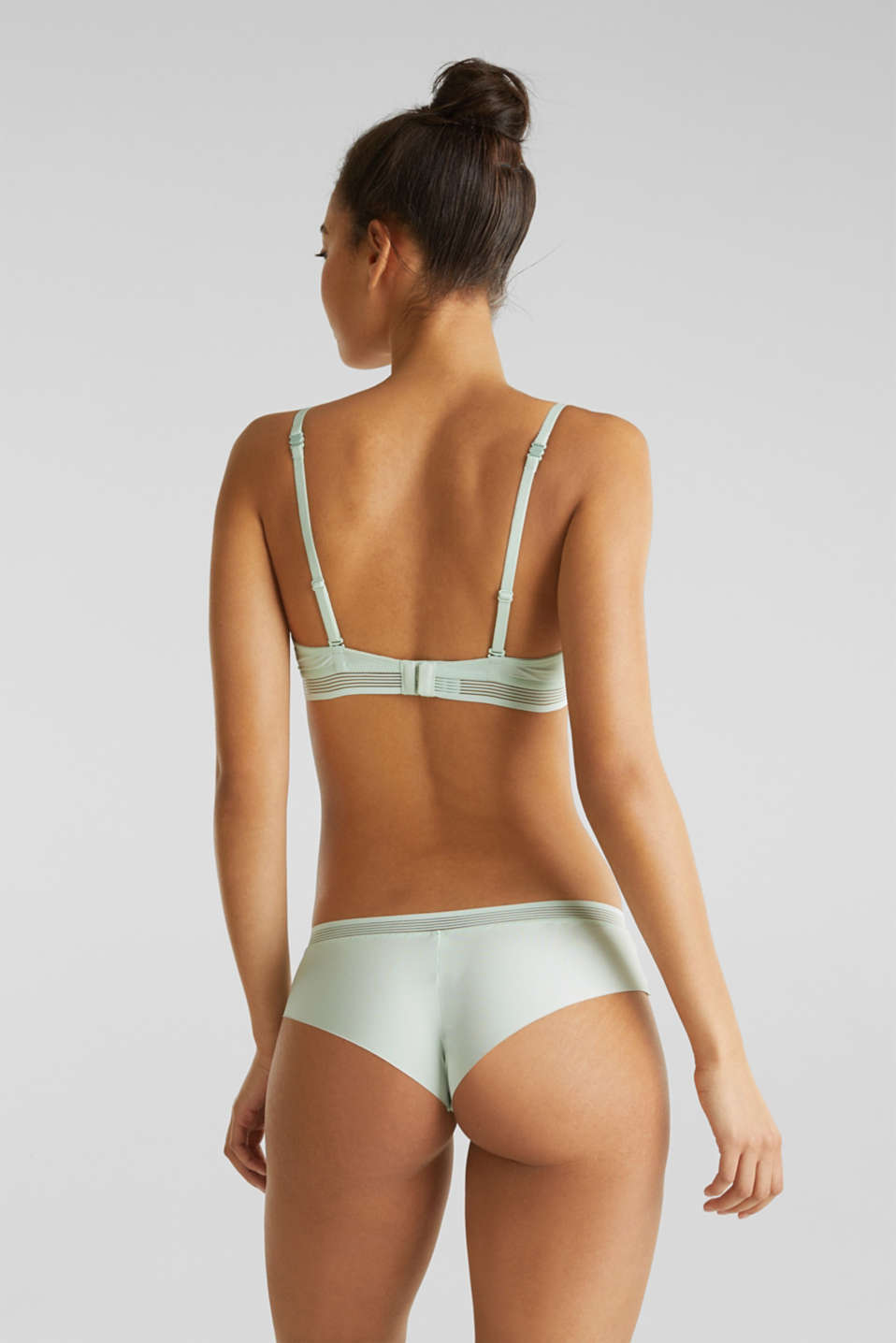 Hipster shorts with sheer stripes, LIGHT AQUA GREEN, detail image number 2