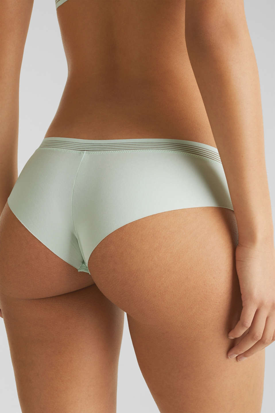 Hipster shorts with sheer stripes, LIGHT AQUA GREEN, detail image number 3