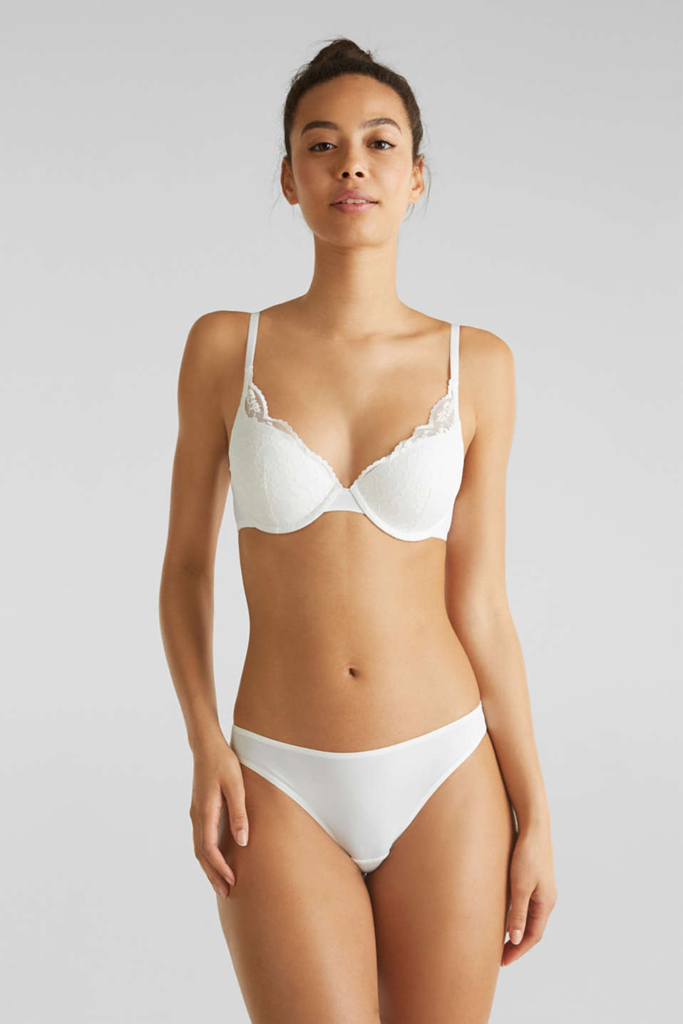 Padded push-up bra with lace, OFF WHITE, detail image number 0
