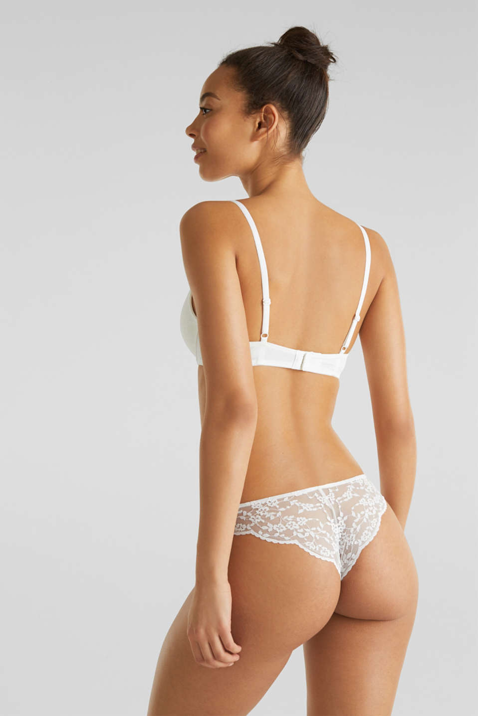 Padded push-up bra with lace, OFF WHITE, detail image number 1
