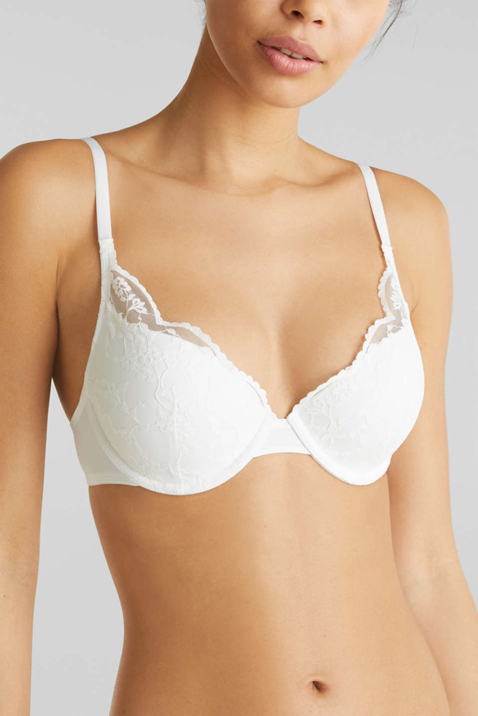 Padded push-up bra with lace, OFF WHITE, detail image number 2