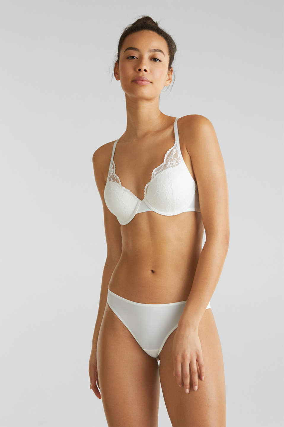 Padded underwire bra with lace, OFF WHITE, detail image number 0
