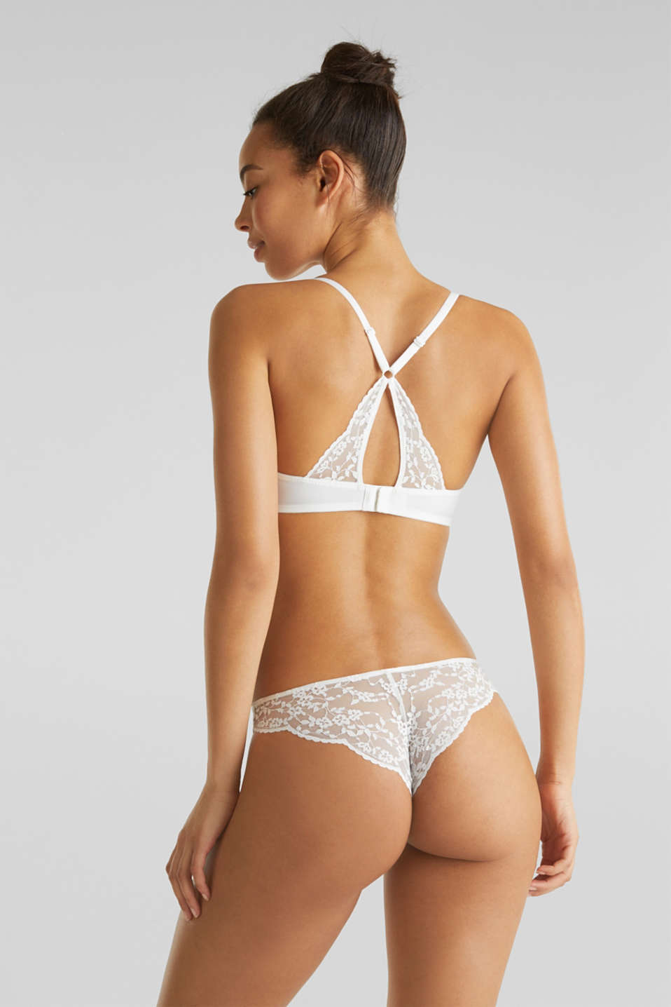 Padded underwire bra with lace, OFF WHITE, detail image number 1