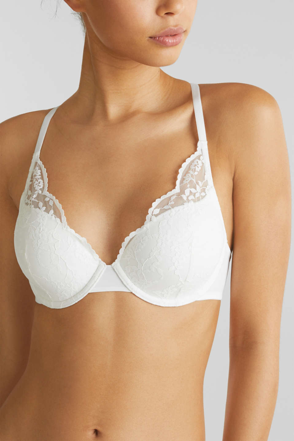 Padded underwire bra with lace, OFF WHITE, detail image number 2