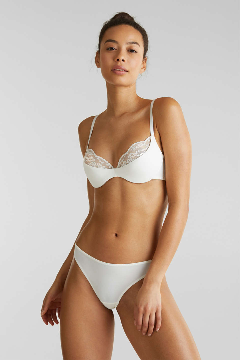 Padded underwire bra with half-cups and lace, OFF WHITE, detail image number 2