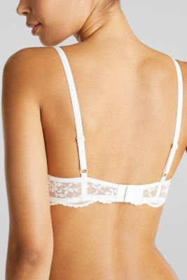Padded underwire bra with half-cups and lace, OFF WHITE, detail