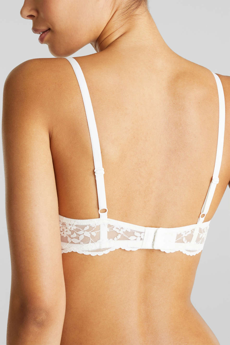 Padded underwire bra with half-cups and lace, OFF WHITE, detail image number 4
