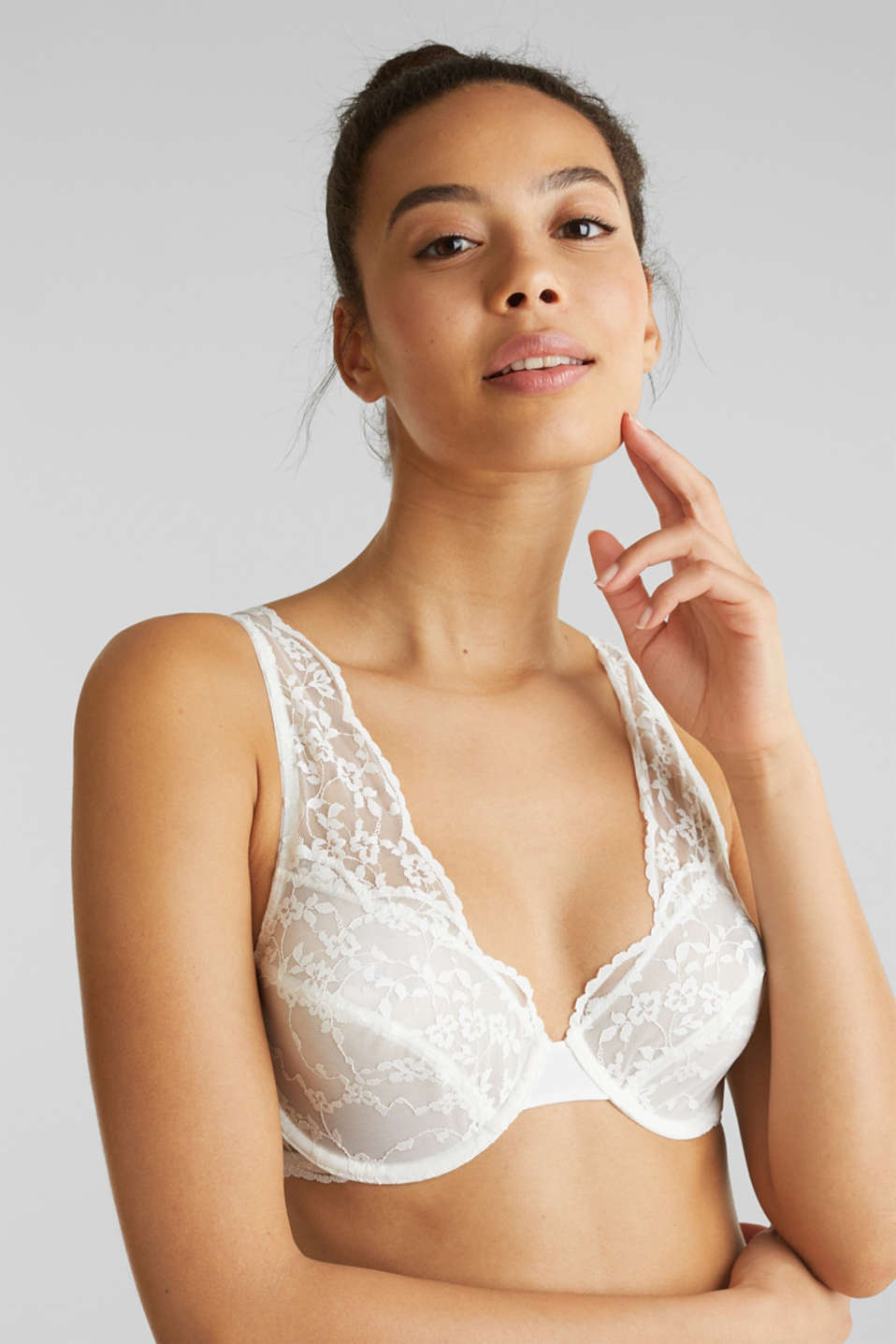 Unpadded underwire lace bra, OFF WHITE, detail image number 0