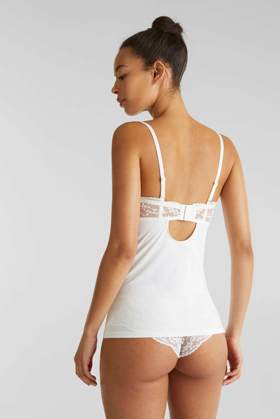 Chemise with padded lace cups, OFF WHITE, detail image number 1