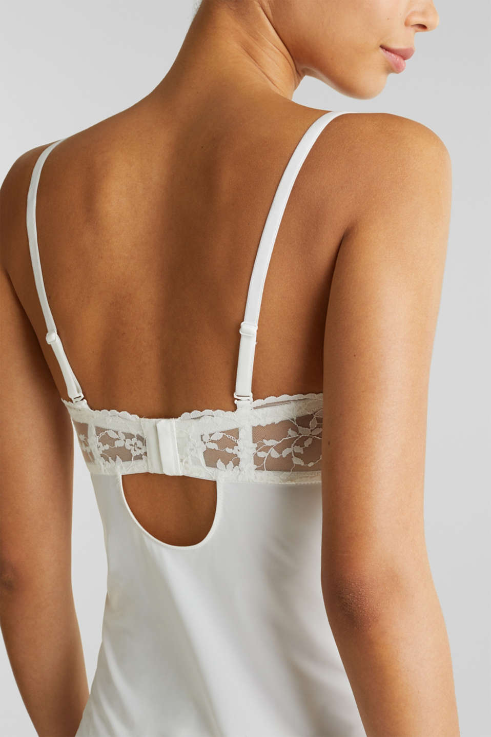 Chemise with padded lace cups, OFF WHITE, detail image number 5