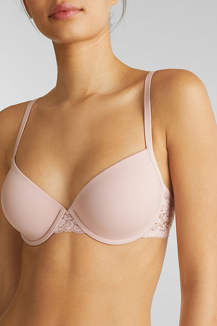 Padded underwire bra with lace, OLD PINK, detail image number 2