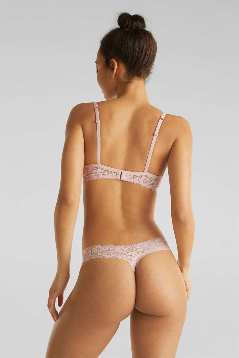 Hipster thong with a lace waistband, OLD PINK, detail image number 2