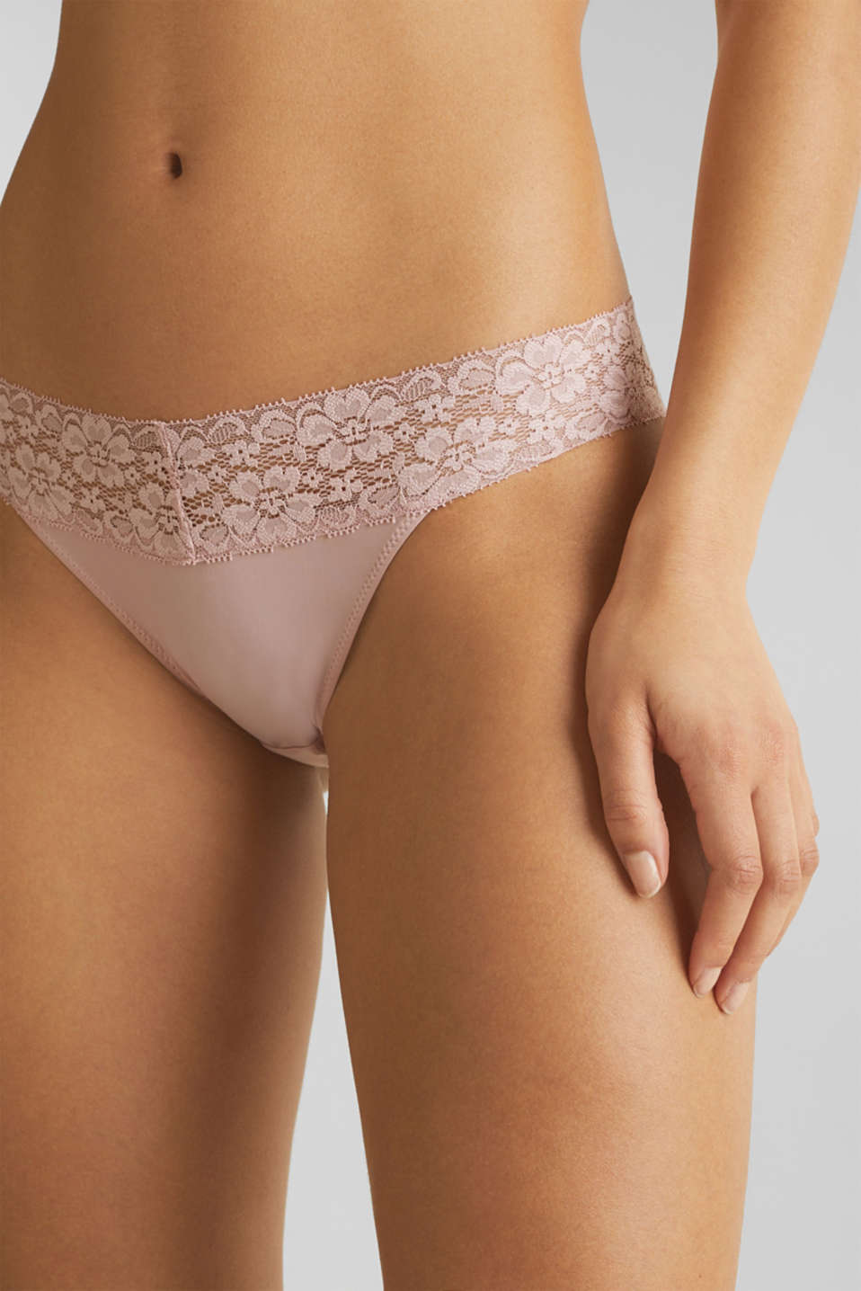Hipster briefs with a lace waistband, OLD PINK, detail image number 1