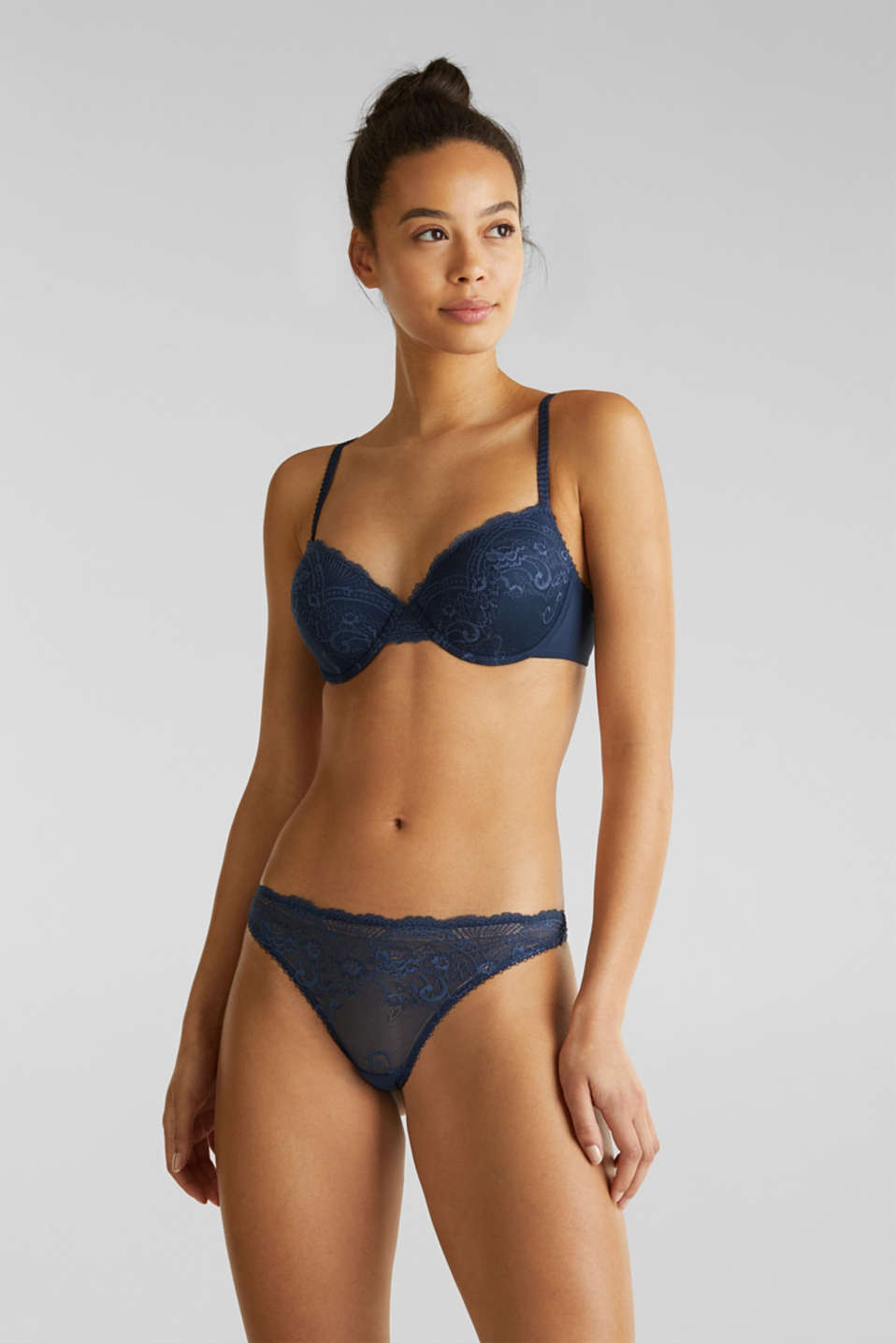 Padded underwire bra in lace, NAVY 2, detail image number 0