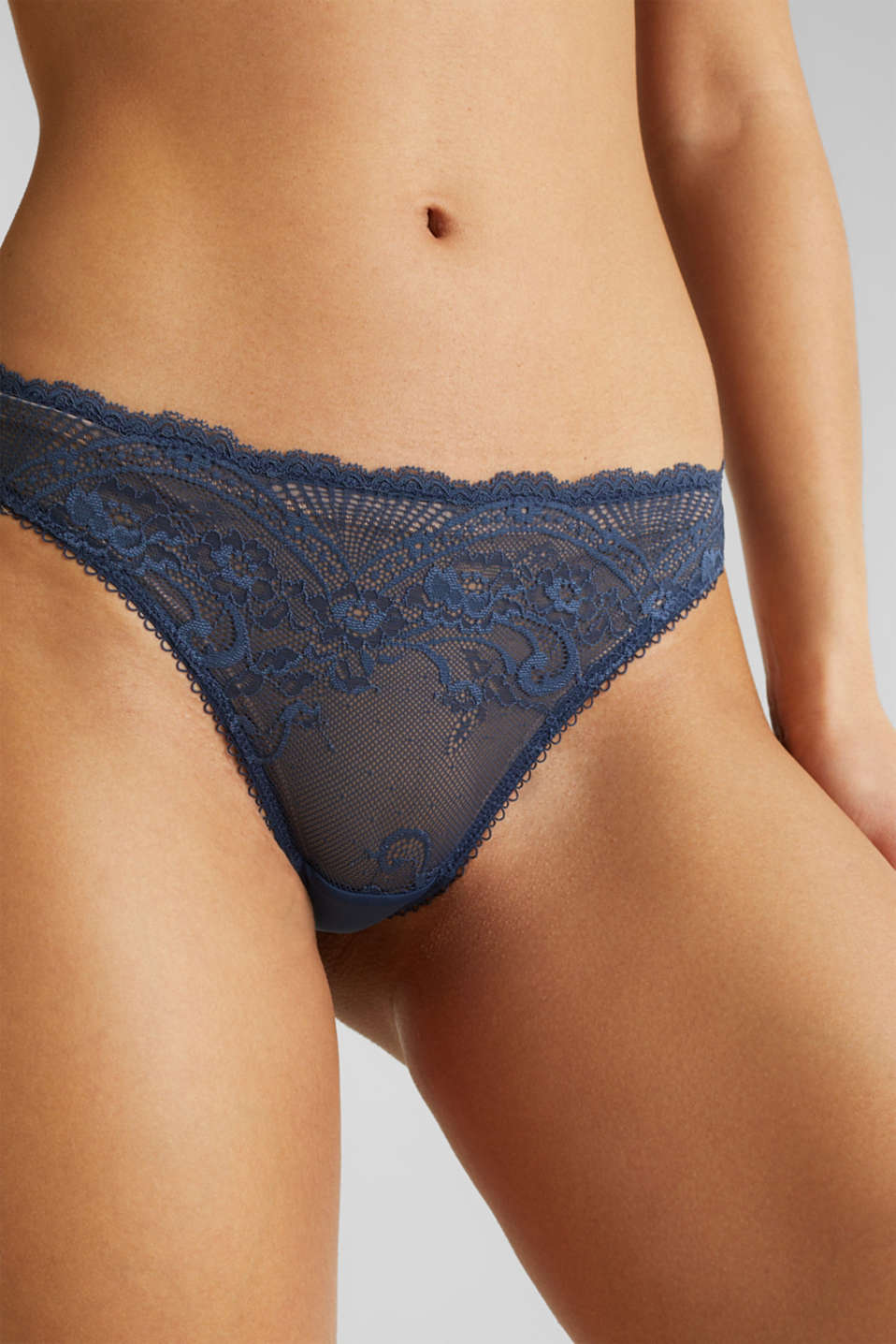 Filigree lace hipster thong, NAVY 2, detail image number 1