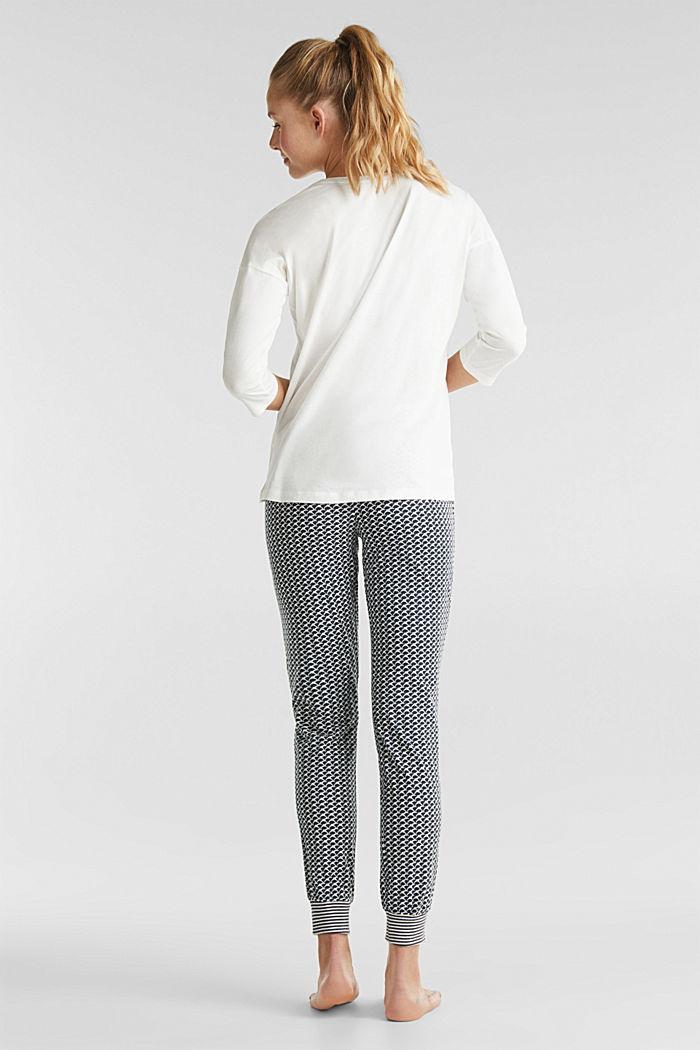 Jersey pyjama van een katoenmix, NAVY, detail image number 1