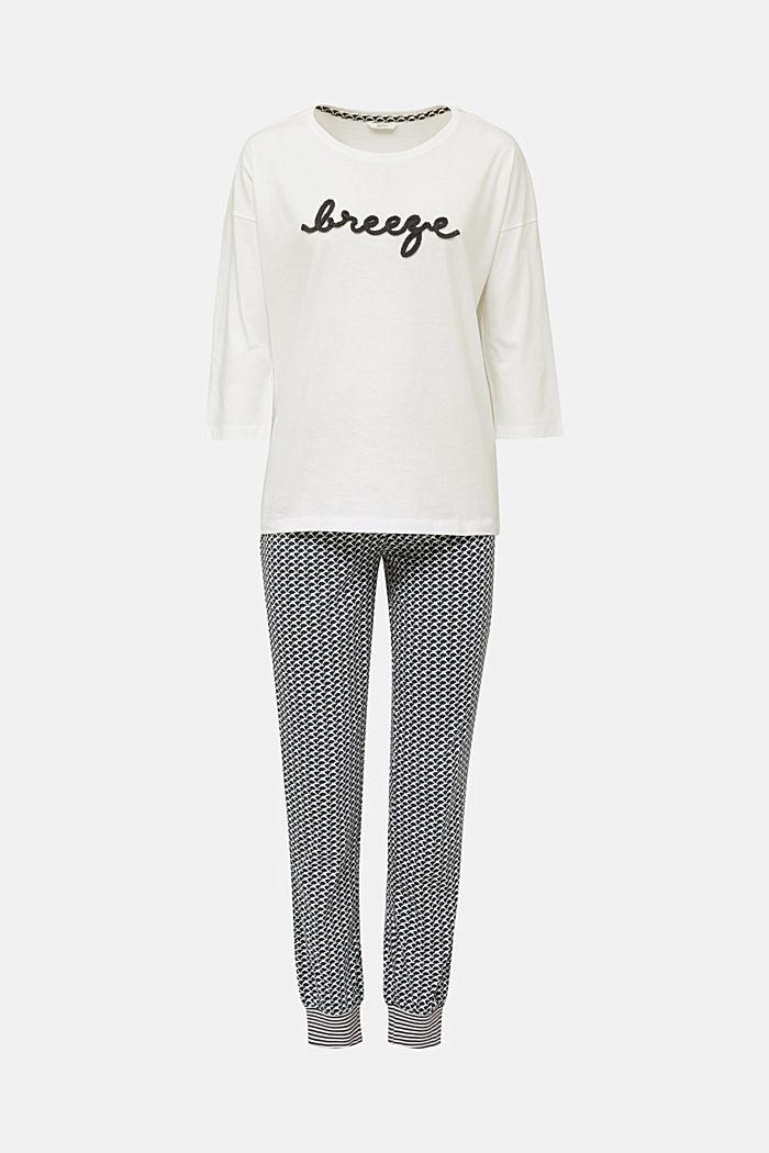 Jersey pyjama van een katoenmix, NAVY, detail image number 5