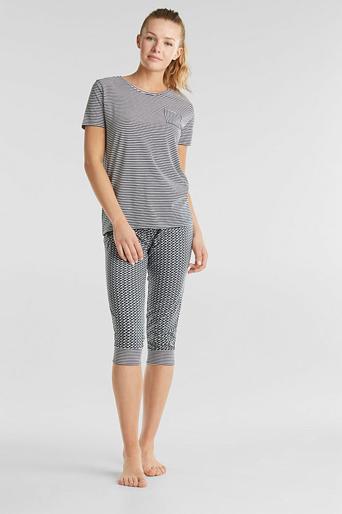 Jersey pyjama met motiefmix, NAVY, detail image number 0