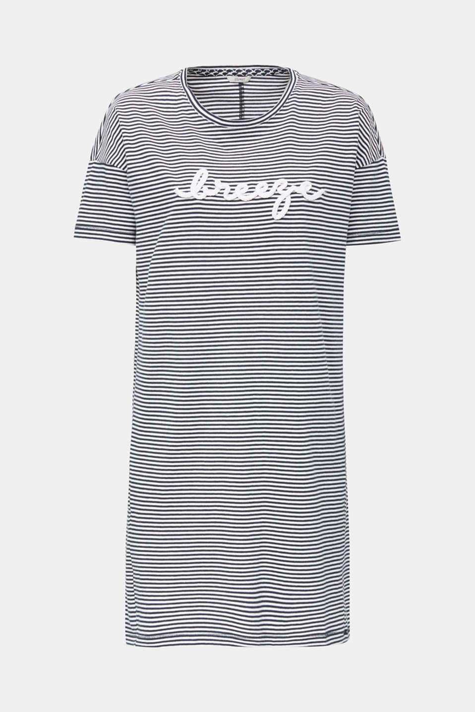 Striped jersey nightshirt, 100% cotton, NAVY 2, detail image number 3