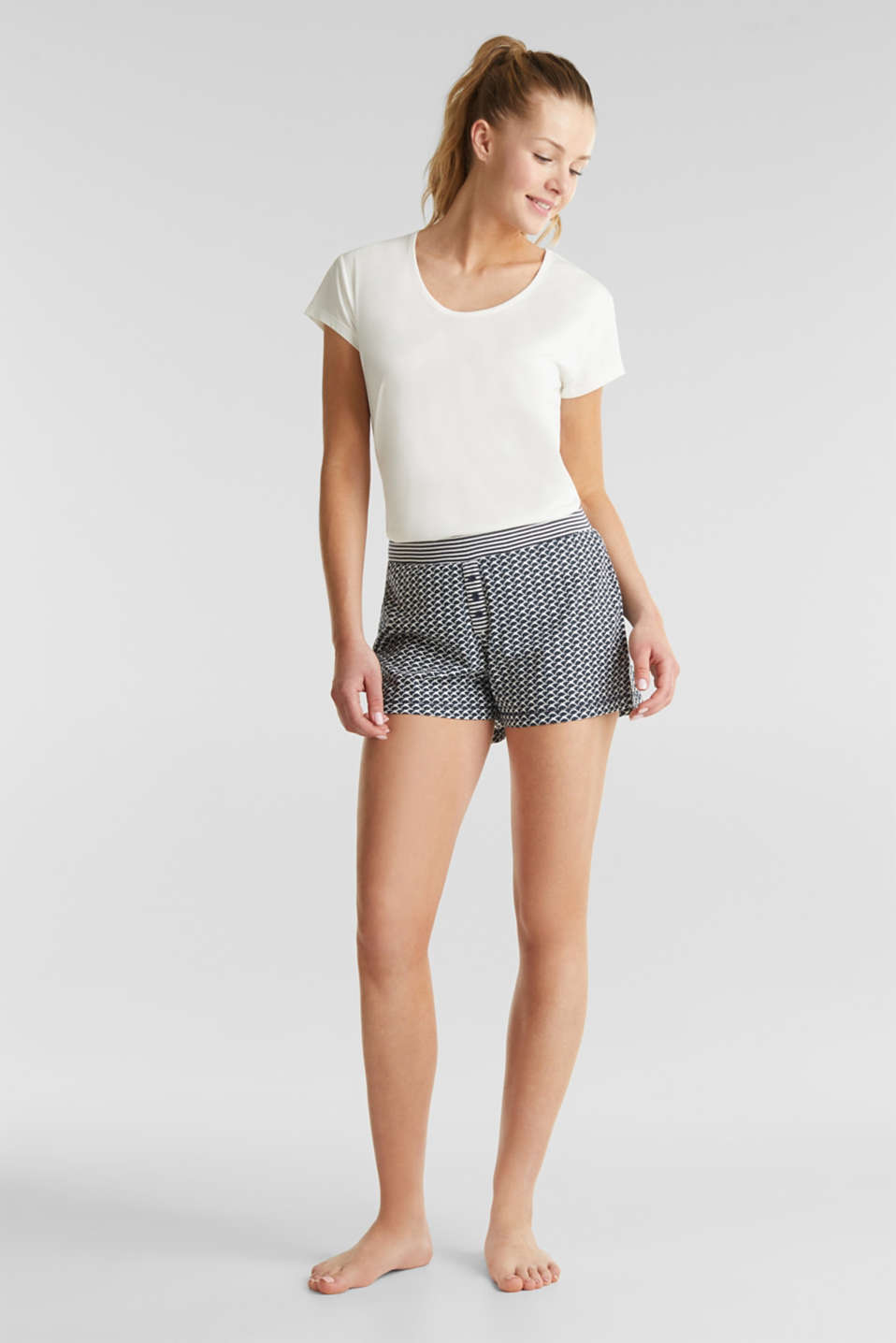 Jersey shorts with a swallow print, NAVY 2, detail image number 0