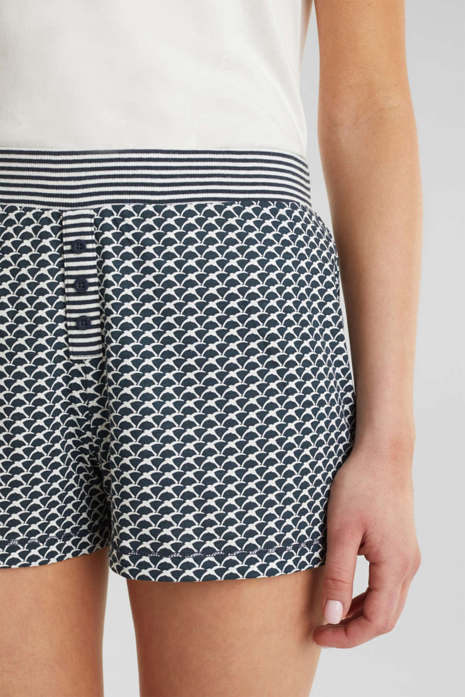 Jersey shorts with a swallow print, NAVY 2, detail image number 1