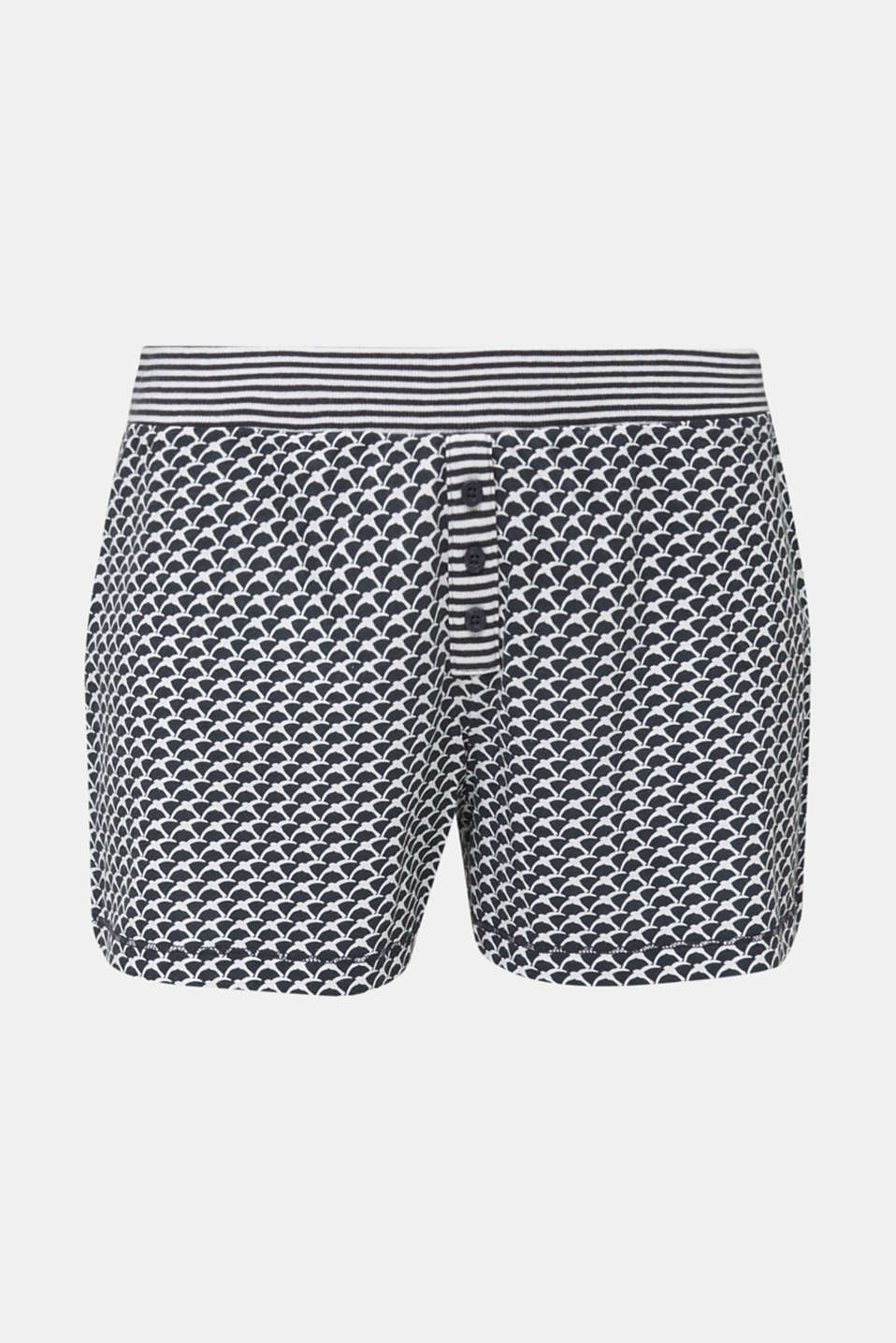 Jersey shorts with a swallow print, NAVY 2, detail image number 4