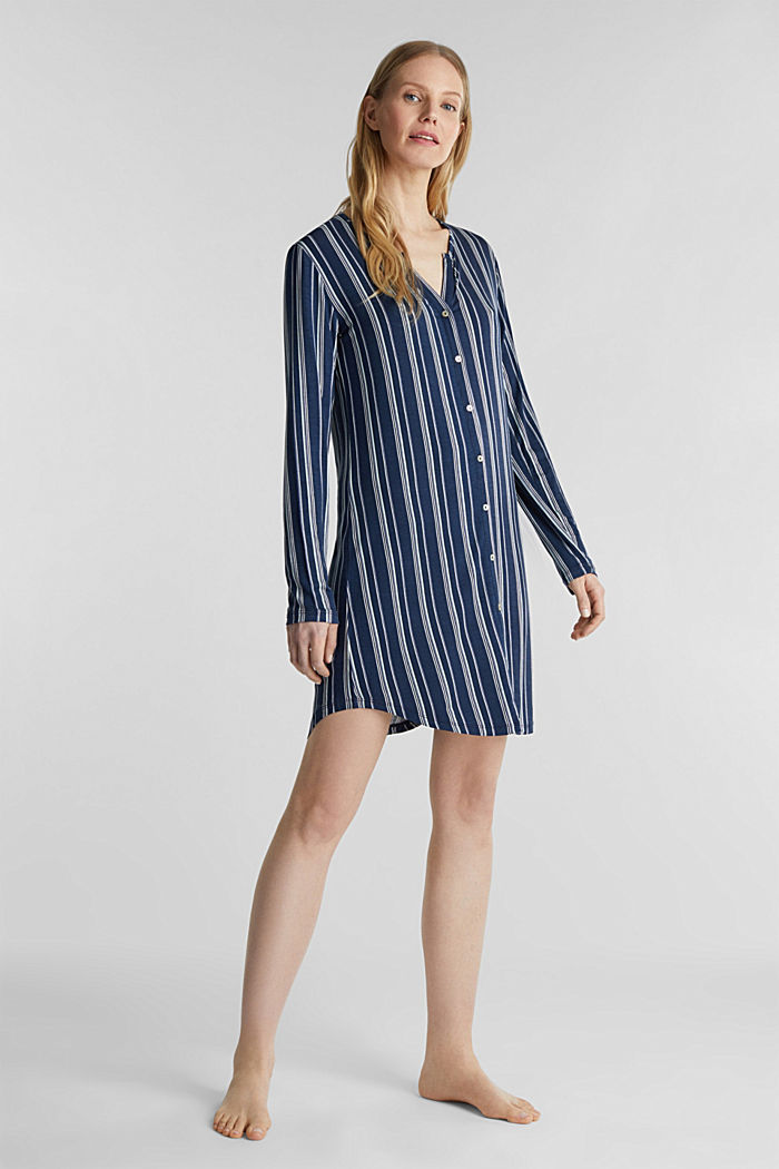 Jersey Henley-style nightshirt, NAVY, detail image number 0