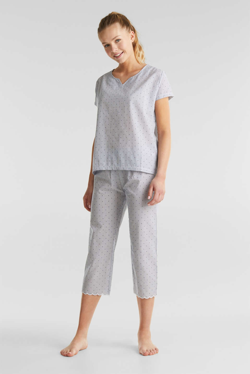 Esprit - Woven pyjamas with a mixed pattern, 100% cotton