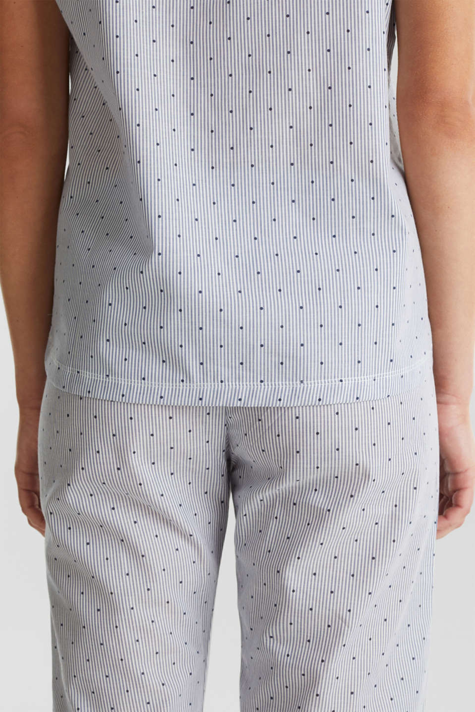 Woven pyjamas with a mixed pattern, 100% cotton, BLUE LAVENDER, detail image number 3