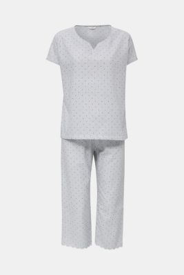 Woven pyjamas with a mixed pattern, 100% cotton, BLUE LAVENDER, detail