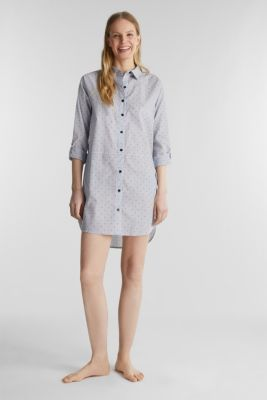 Woven nightshirt, 100% cotton, BLUE LAVENDER, detail