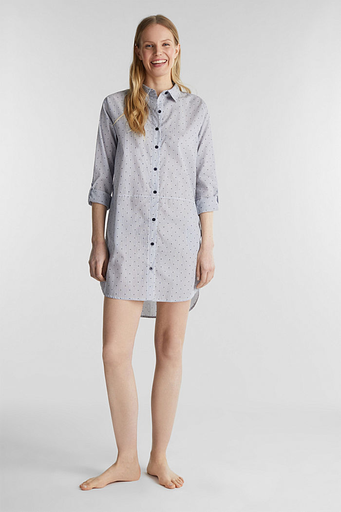 Woven nightshirt, 100% cotton, BLUE LAVENDER, detail image number 0